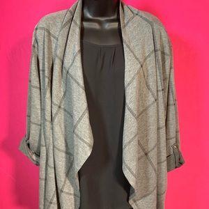 Grey and black plaid knit jacket